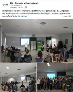 Talleres para el Instituto Asturiano de Prevención de Riesgos Laborales desde BSL-Bienestar y Salud Laboral. Herramientas del Mindfulness para el día a día, el 25 y 26 de febrero de 2020.