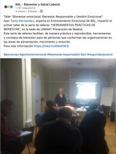 """Taller """"Bienestar emocional: Bienestar Responsable y Gestión Emocional"""" impartido para Unimat Prevención en Madrid, desde BSL-Bienestar y Salud Laboral, el 14 de enero de 2020."""