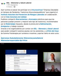 """Jornadas """"Empresa Saludable en tiempos de pandemia: Trastornos musculoesqueléticos"""", organizadas por el Instituto Asturiano de Prevención de Riesgos Laborales, desde BSL-Bienestar y Salud Laboral, el 4 de junio de 2020."""